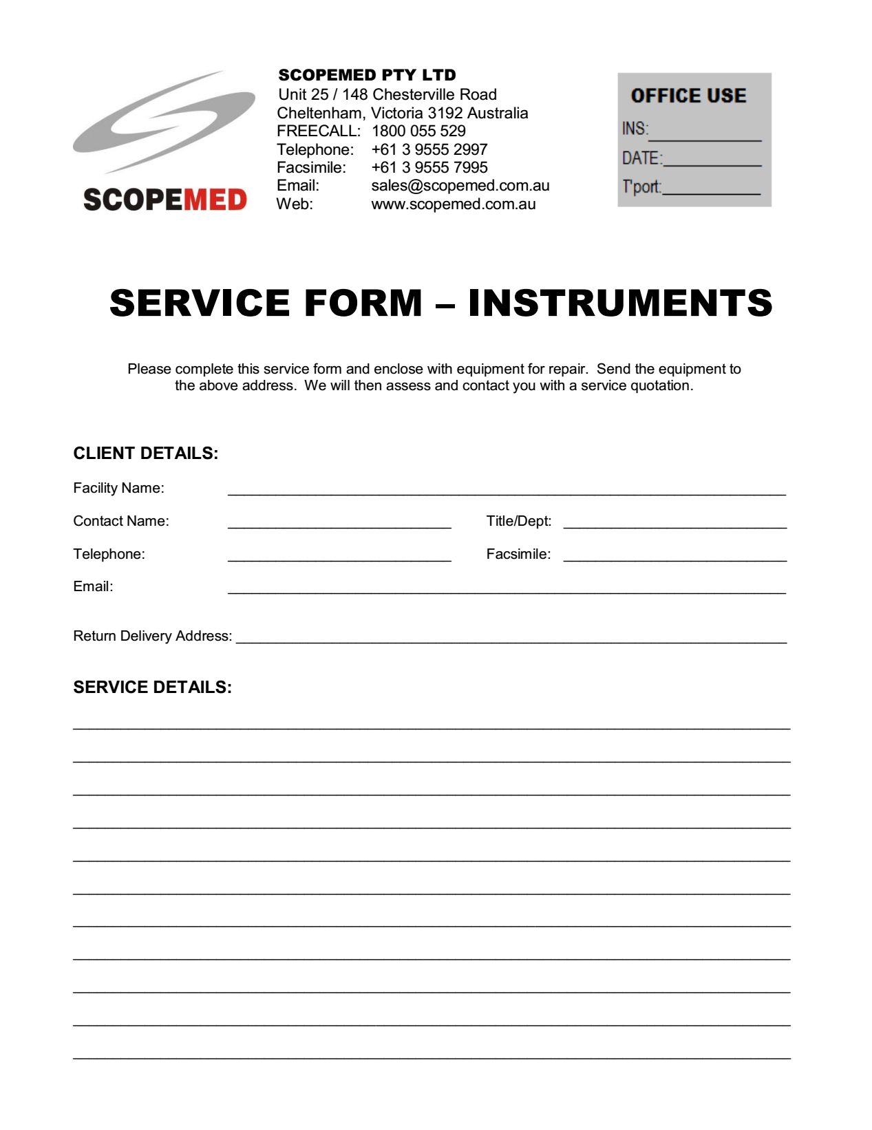 Service Form